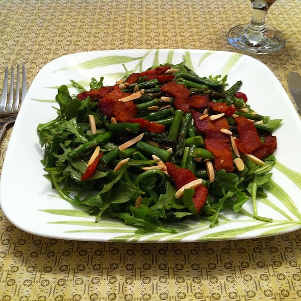 Wilted Arugula Salad With Asparagus, Bacon, Almonds, And Sherry Vinaigrette @ Ye Olde Homestead