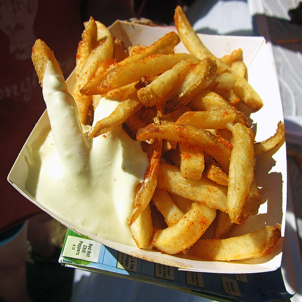Parmesan Fries with Paprika Mayo @ Between Your Buns
