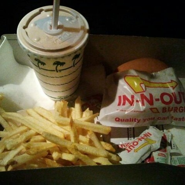 Cheeseburger with French Fries and Chocolate Shake @ In-N-Out