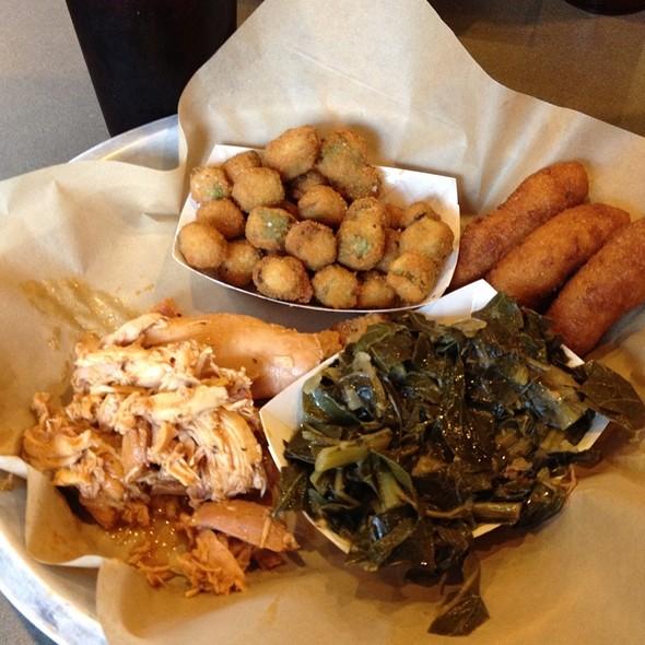 Pulled Free Range Chicken, Fried Okra, Collard Greens @ Luella's BBQ