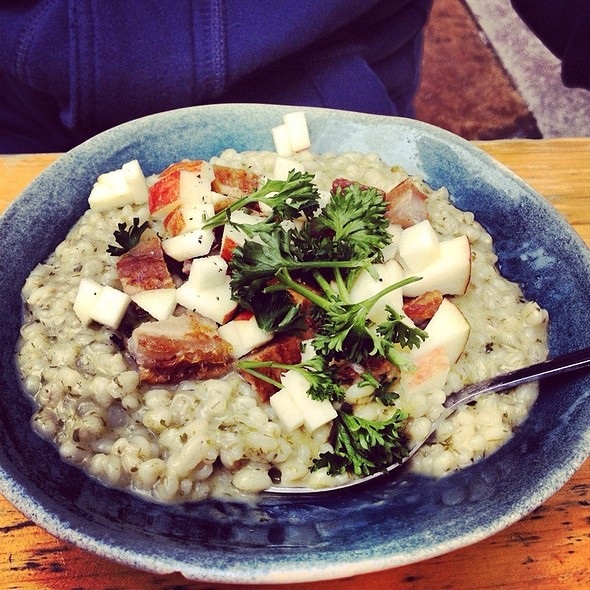 Risotto With Fried Pork, Apples And Parsley