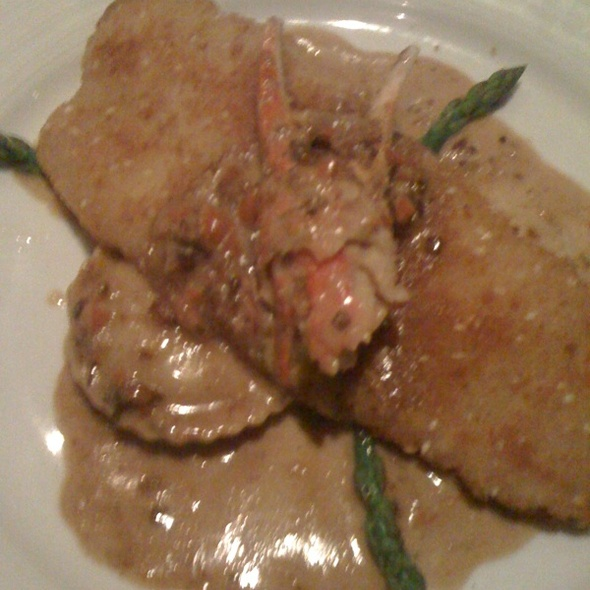 Swai w/Lobster Ravioli & Dungeness Crab Claw In A White Wine Cream Sauce - Spaggi's, Upland, CA