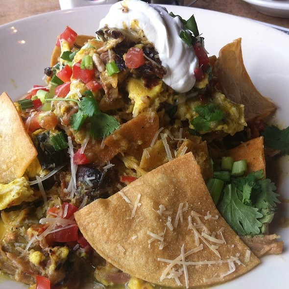 Green Chilaquiles With Carnitas And Eggs @ Cheesecake Factory