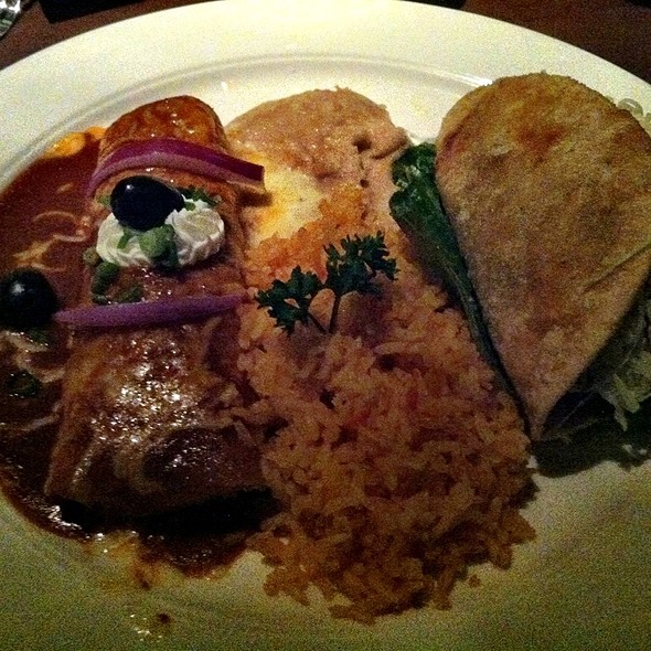 Tostada, taco and enchilada @ Javier's Cantina at Aria