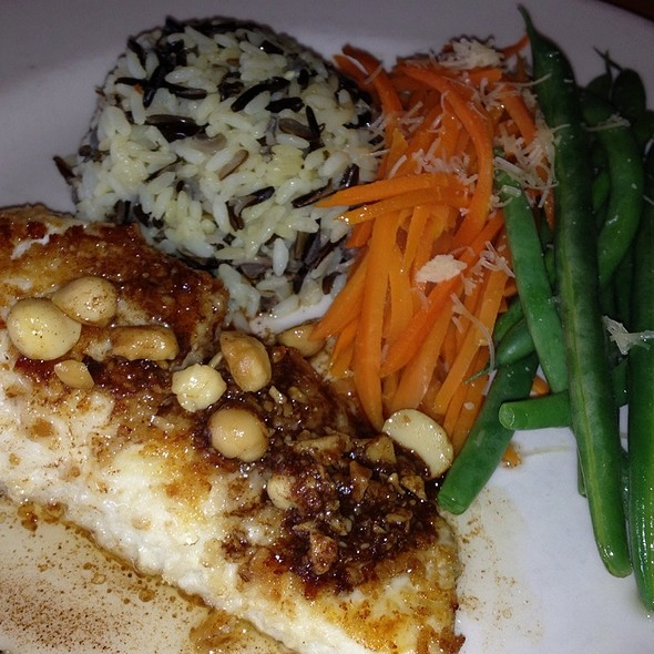 Macadamia Nut Crusted Alaskan Halibut With Orange Ginger Butter Sauce - Scott's Seafood on the River, Sacramento, CA