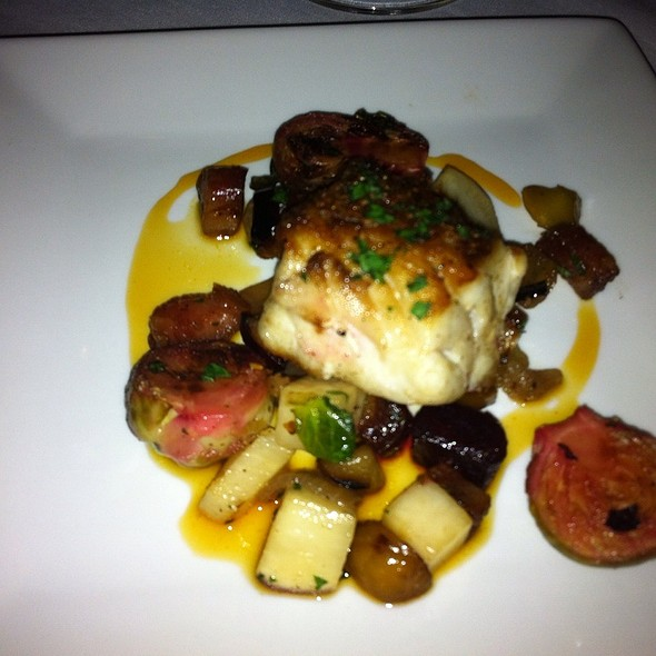 Pan Sauteed Red Snapper With Roasted Brussels, Beets And Turnips With Bacon Lardon And Tangerine Reduction - Daniel George Restaurant and Bar, Mountain Brook, AL