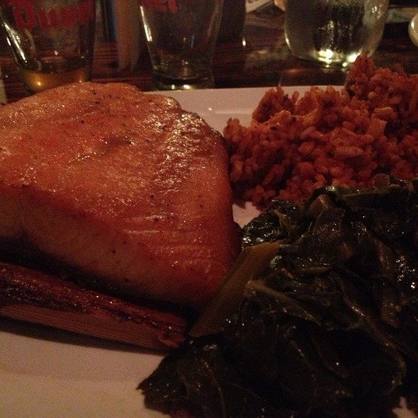 Soy Glazed Salmon With Collards And Red Rice @ Neo