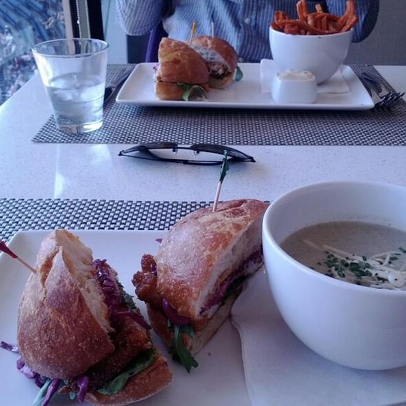 Fish Sandwich with Mushroom Soup - Arriba Restaurant, Toronto, ON