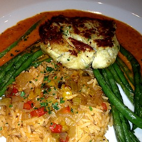 Jumbo Lump Crab Cake, Creole Butter, Spicy Tomato-Herb Basmati Rice, French Green Beans