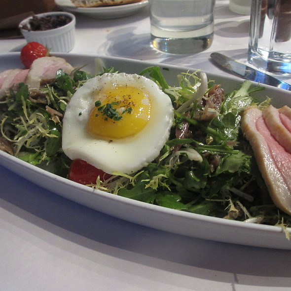 Salade Périgourdine - Smoked Duck Breast, Duck Fried Eggs and Bacon - Bistro Bordeaux, Evanston, IL