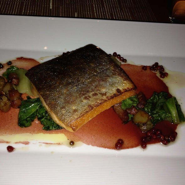 Arctic Char With Pancetta, Fig And Date Puree, Sunchoke And Escarole @ Vitae