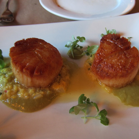 Pan Roasted Scallops with Humita & Tornatillo Salsa