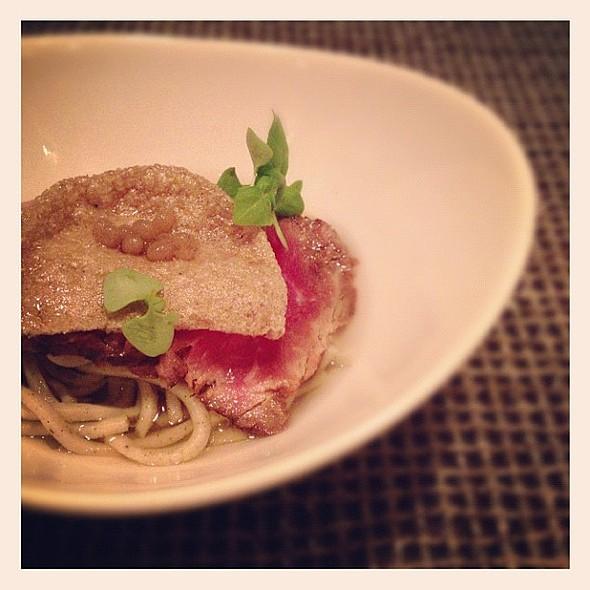 Japanese Bolognese. Beef Tataki, Handmade Soba, Tomato Consommé, Parmigiano, Mushroom Crisp, Basil, Truffle Pearls @Sen5esTO www.gwailo.ca @ Sen5es Restaurant & Bar