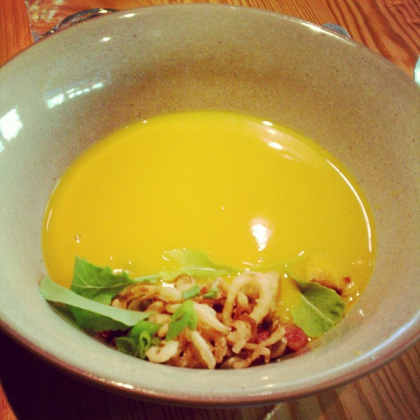 Butternut squash soup with bacon and pepitas @ The Spence