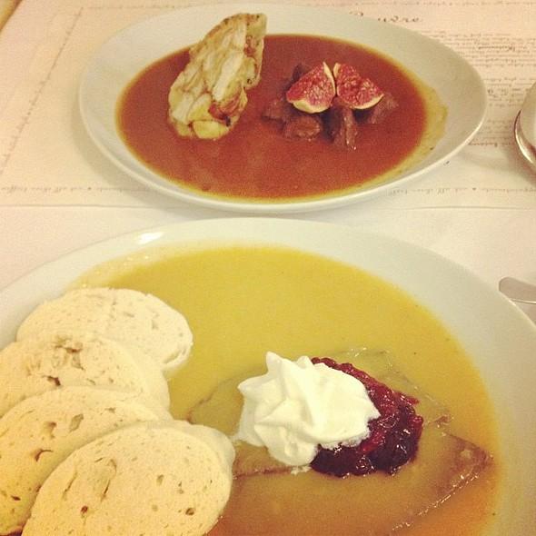 The wonderful Czech cuisine. Svičková with knedliky and carrot sauce. Those dumplings are a total WIN. @ Café Louvre