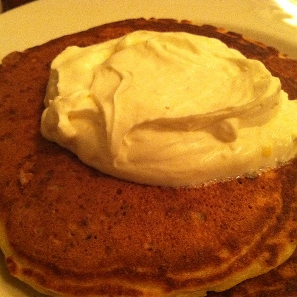 Lemon Gingerbread Pancakes with Poached Pears and Blueberries