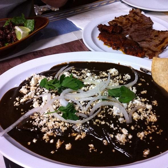 Enmoladas Con Tasajo Y Chorizo  @ La China Oxaquena