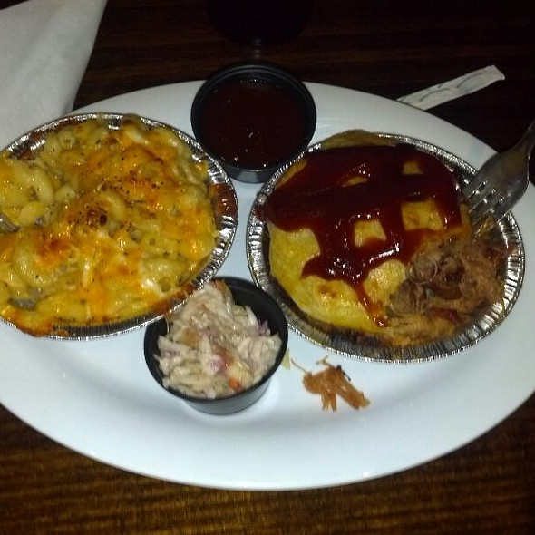 BBQ Pulled Pork Pie with Apple Cole Slaw and Mac N Cheese