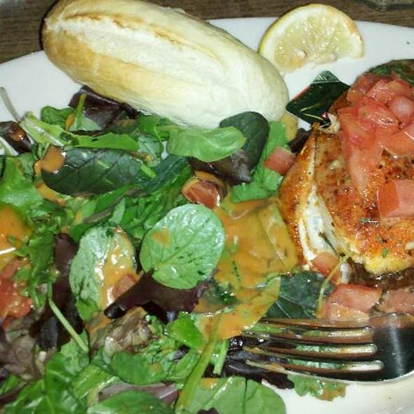 Blackened Grouper W Grit Cake & Salad @ Red Bar