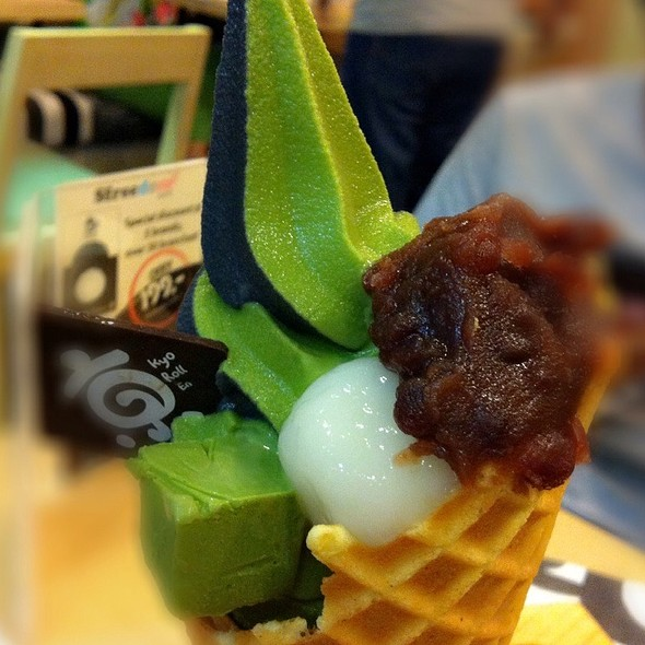 Matcha Soft Serve With Azuki Paste + Shiramada