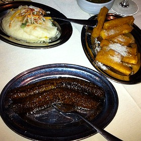 Caramelized Banana, Mashed Potatos With Garlic And Polenta Frittes
