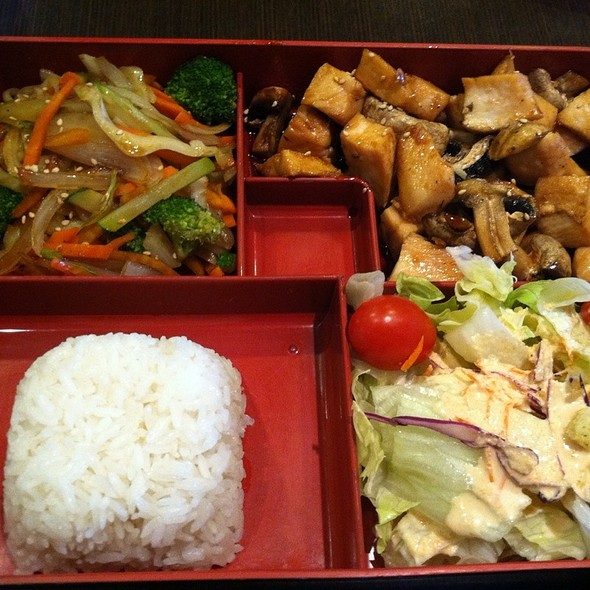 Grilled Teriyaki Chicken With Rice, Veggies, And Salad