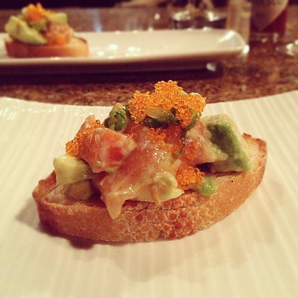 Salmon Tartare, Served on Baguette @ Japas