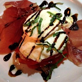 Fresh Mozzarella With Roasted Peppers, Caramelized Onions And Prosciutto