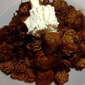 Radiatore Bolognese With Braised Short Ribs, Sausage, Mealtballs And Marscapone