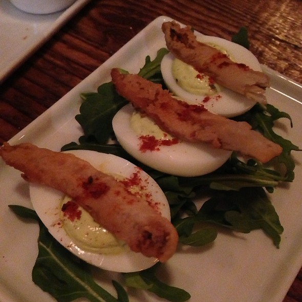 Deviled Eggs With A Fried White Anchovie  - BKLA, Los Angeles, CA