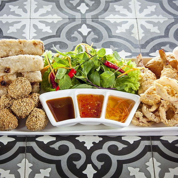 Saigon Party Platter (deep fried spring rools, grilled sugarcane prawns, sesame pork meatballs, savoury deep-fried calamari, prawn crackers) @ Little Saigon