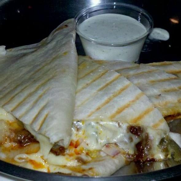 Quesadilla w/chorizo, red onion, and Jalapeno @ Barcade