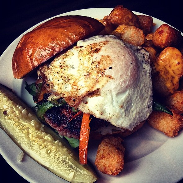 Oppa Gangnam Style... Burger. Bulgogi-marinated rib eye / chuck, grilled rice cake, bipbimbap veggies, and a fried egg. @ PYT