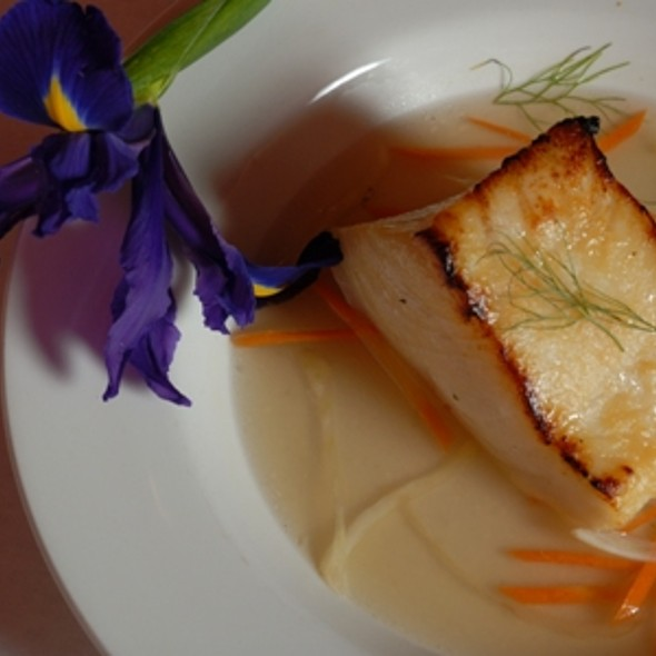 Miso Glazed Chilean Seabass with Fresh Fennel, Carrots and Lobster Consomme @ Polo Grill and Bar
