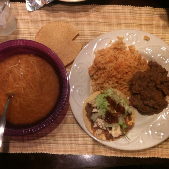 Mexican Rice, Refried Beans, Chicken Tostadas w/ Roasted Tomato Salsa & Fideo Soup @ Jorge, Jamie, Jacob, and Jaxons House