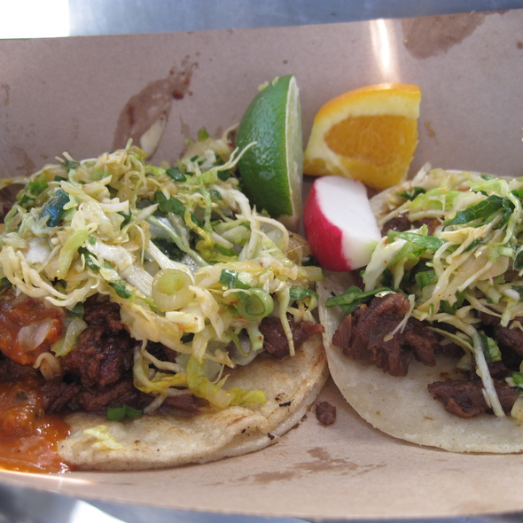 Galbi and Spicy Pork tacos @ Kogi BBQ Truck