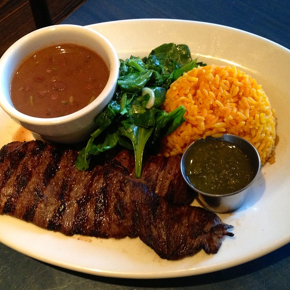Skirt Steak, yellow rice, red beans, & spinach w/garlic. @ Bogota Latin Bistro