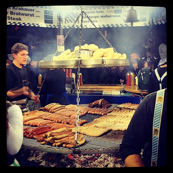 Bratwurst and Krakauers. At the Manchester Christmas market in Albert Square. @ Manchester Christmas Markets