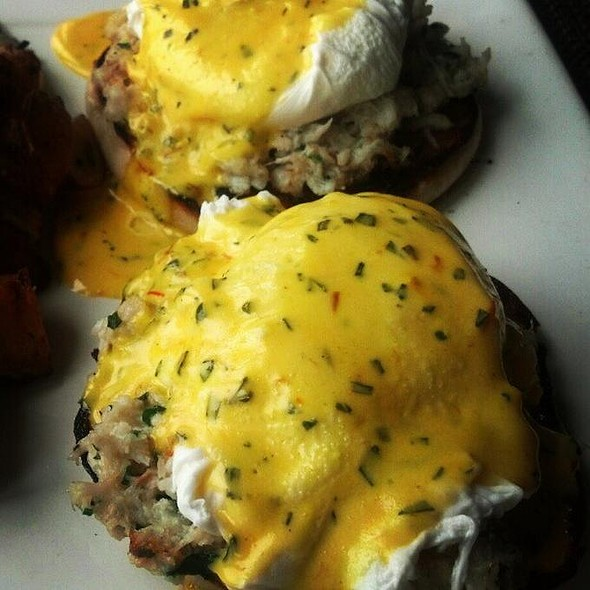 Pouched eggs with crab meat on an english muffin - The Sunset, Malibu, CA