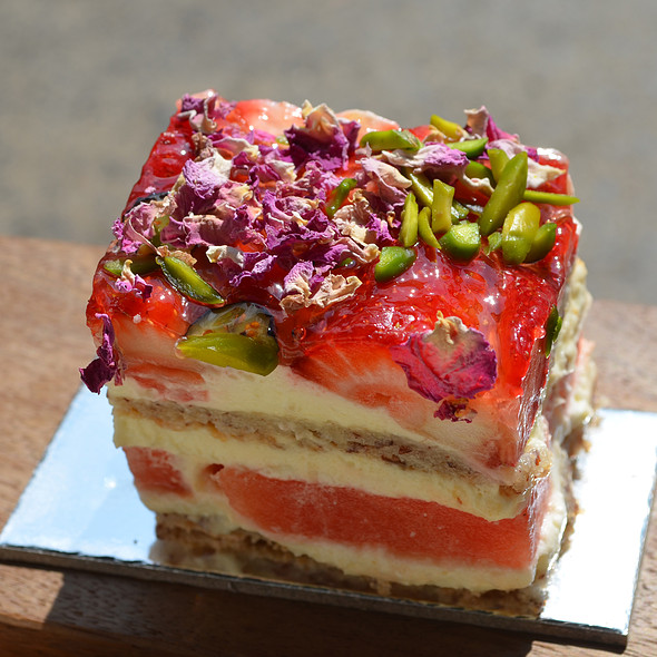 Strawberry Watermelon Cake with Rose Cream