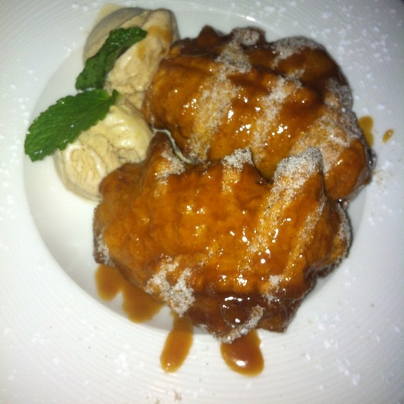 Banana Fritters With Honey & Ice Cream - Ortanique on the Mile, Coral Gables, FL