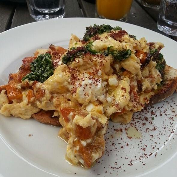 Pumpkin Feta And Pesto On Sourdough Toast With Scrambled Eggs