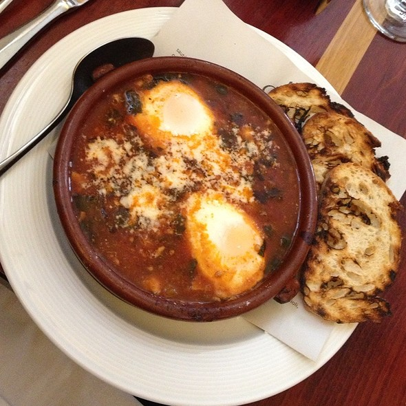 Eggs baked in a cazuela with tomato sauce @ Olea