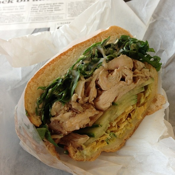 Roasted Chicken On Acme Roll, Avocado Crema, Cucumber, Corn Chip, Arugula, Tabasco Mayo