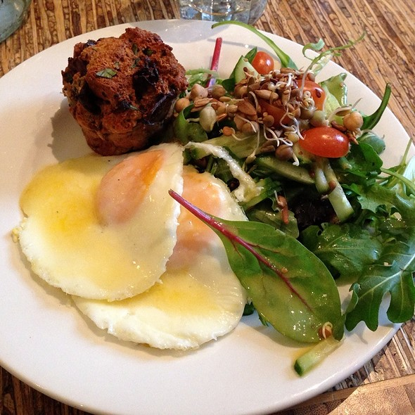 Baked Eggs With Cheddar, Bread Pudding And Salad