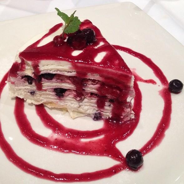 Vanilla Crepe Cake With Raspberry Sauce @ Greyhound Café