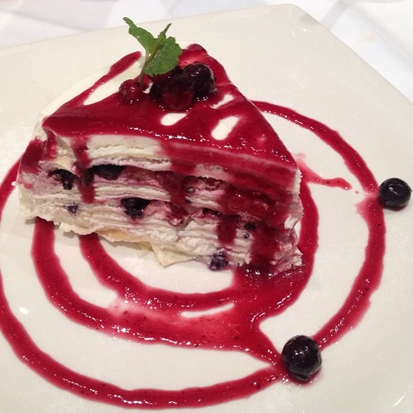 Vanilla Crepe Cake With Raspberry Sauce @ Greyhound Café
