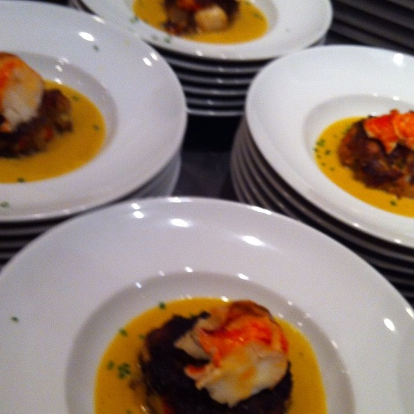 Lobster Scallop Cake, Butternut Squash Sauce @ Hollys Eventful Dining