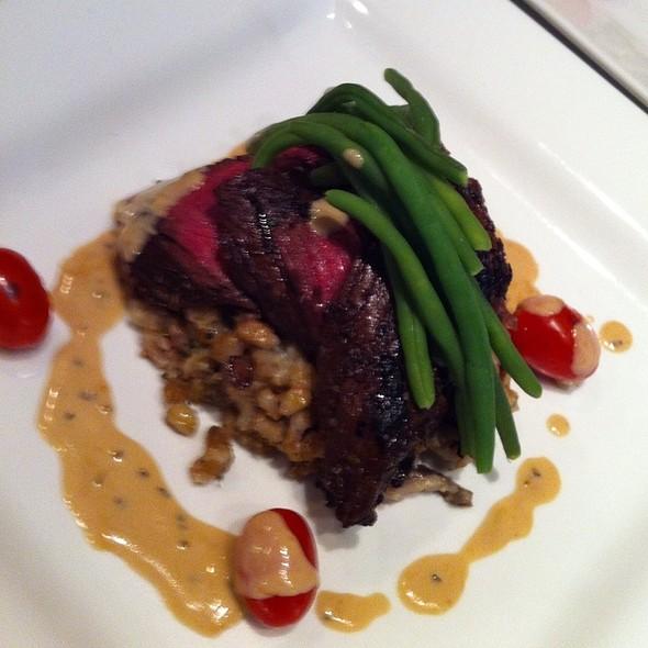 Orange Rosemary Onglet, Mushroom Barley, Burnt Sage Cream @ Hollys Eventful Dining
