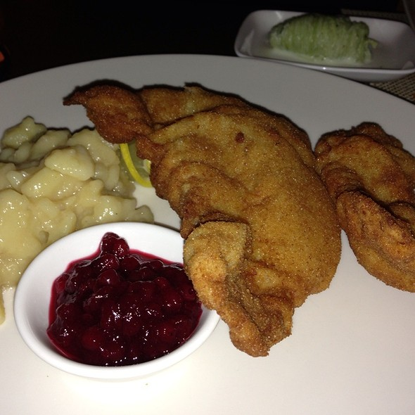 Veal Schnitzel, Lingonberry, Cucumber, Austrian Potato Salad @ Seasonal Restaurant & Weinbar